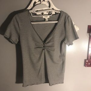f21 black and white striped fitted top